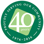 40 years of serving the community logo