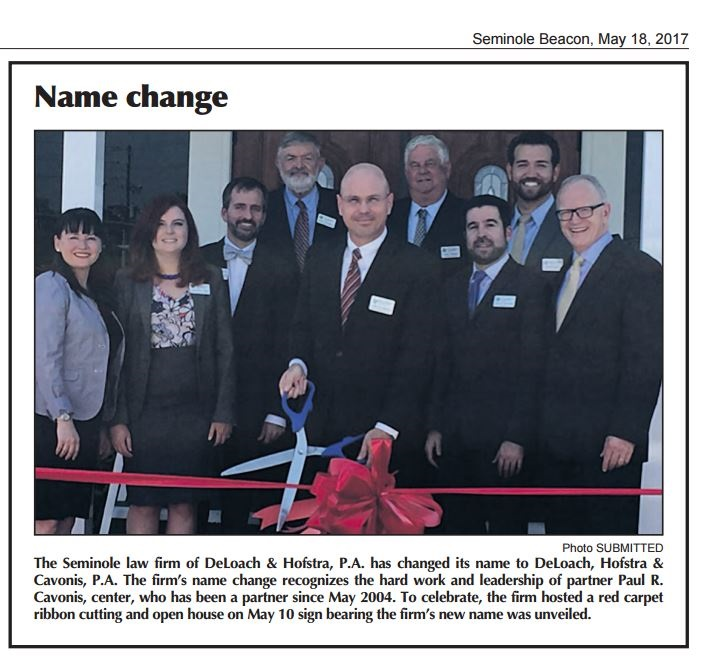 DeLoach, Hofstra & Cavonis, P.A. team members at ribbon cutting ceremony