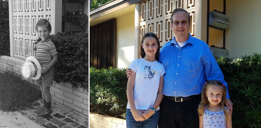 Eric and his children in front of their Florida home