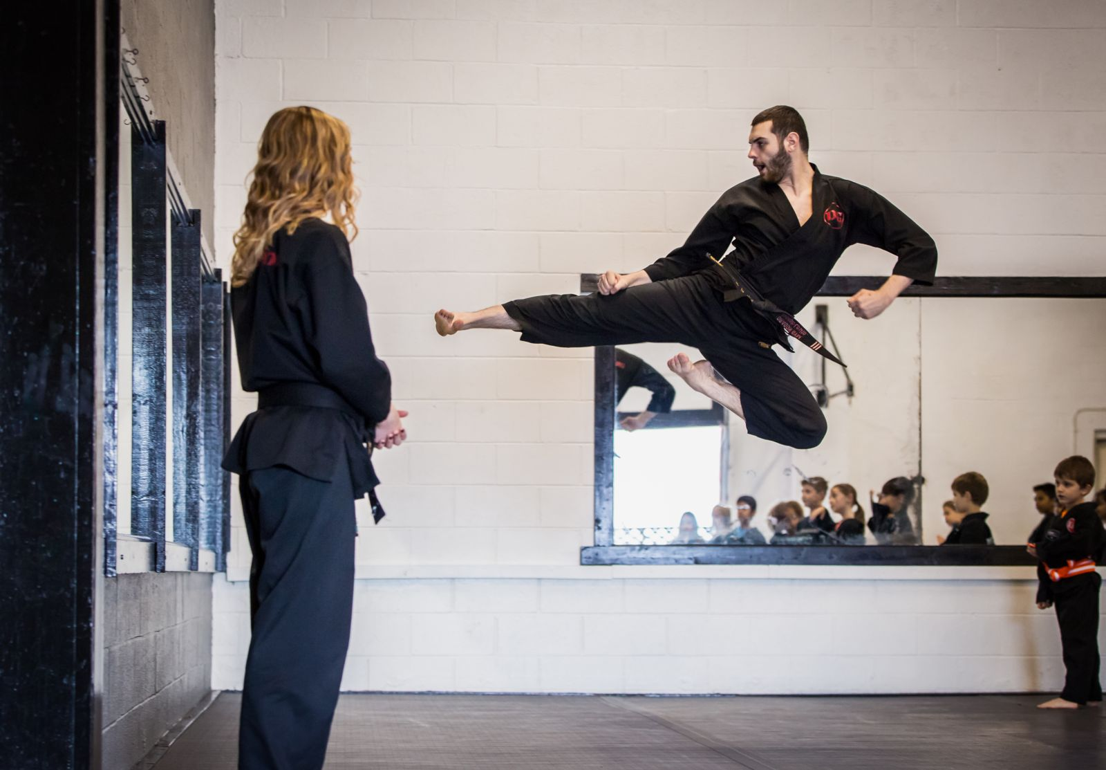 West Chester, PA Taekwondo Instructor Joseph Losito Flying Side Kick