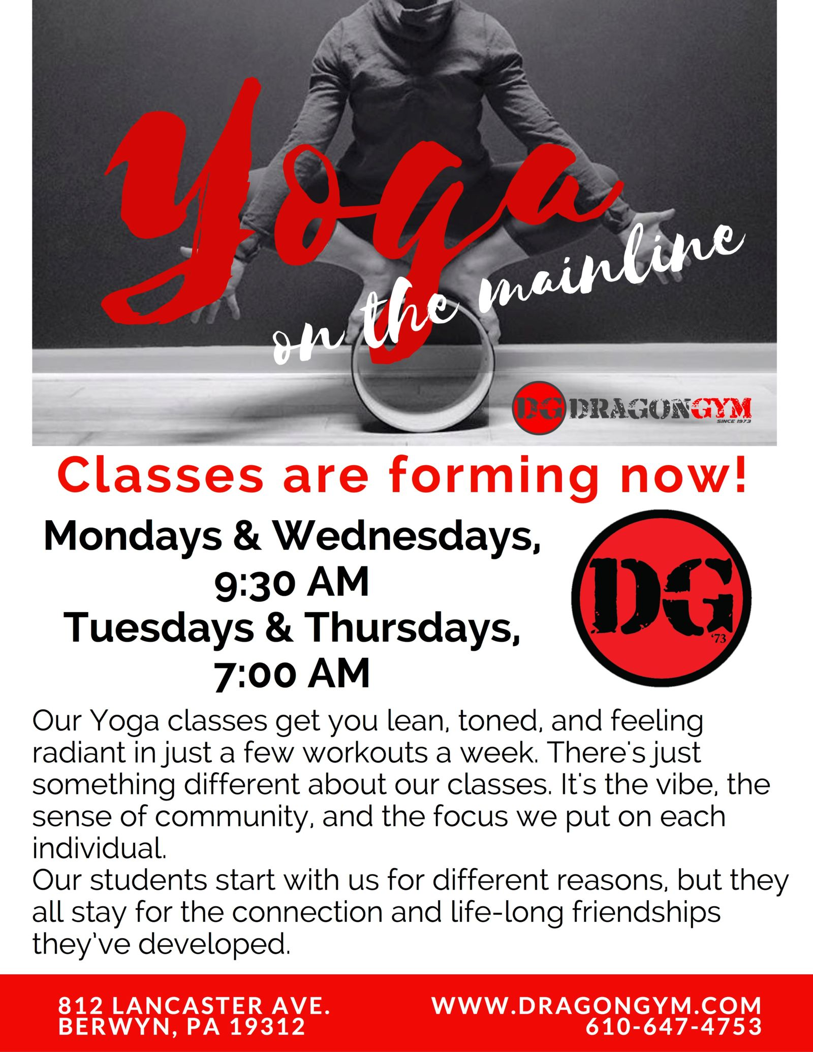 Morning Yoga Classes in Berwyn Pa at Dragon Gym Main Line