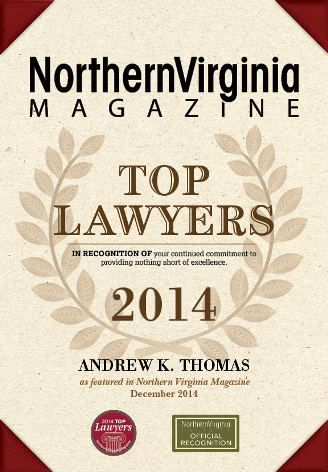 Andrew Thomas Northern Virginia Magazine Top Lawyers Award