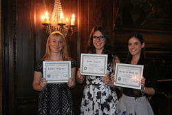 Goldstein and Bashner anti- bullying scholarship winners Emma Rose Martin, Gina Gatti, and Renate Kurth