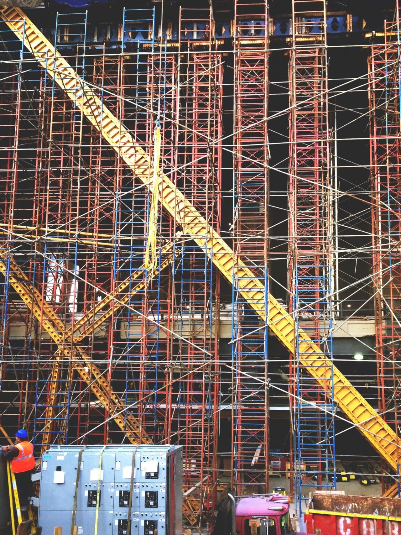 New York construction site scaffolding