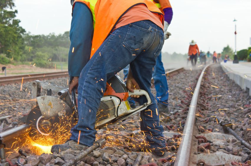 Railroad workers on the tracks