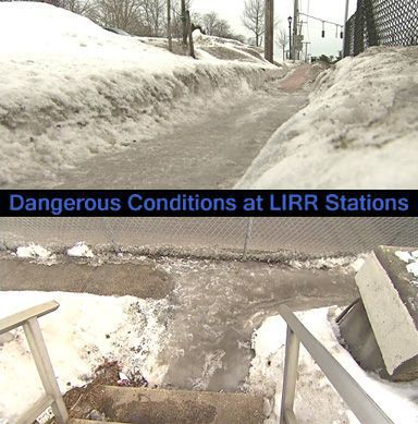 Dangerous walkways at LIRR train stations