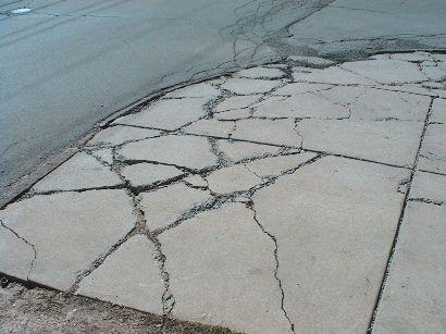 broken sidewalk slip and fall