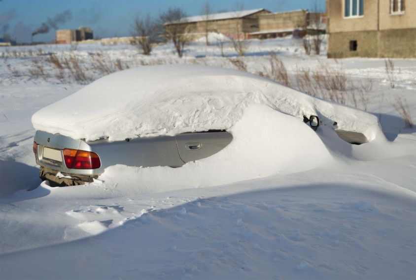 Snowed In Car with blocked tailpipe may lead to carbon monoxide poisoning if not cleared