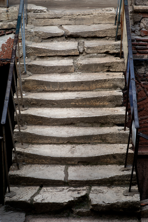 broken stairway that is a hazzard