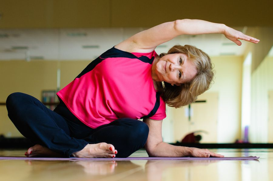 Diabetic woman doing yoga