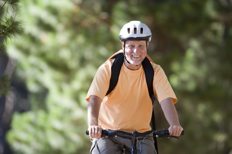 Diabetic man riding his bike