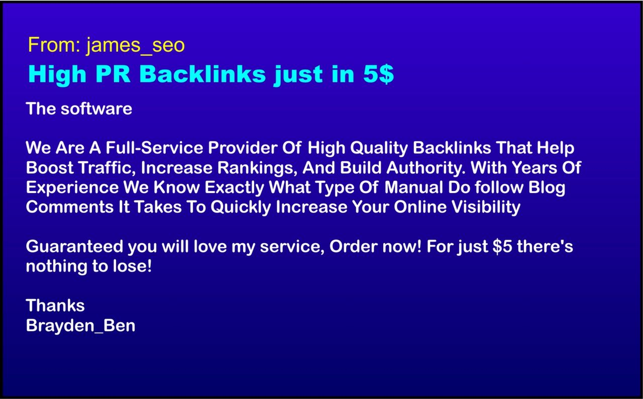 High Quality Backlinks Spam Example