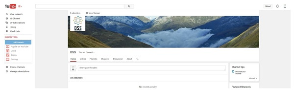 If your account is set up correctly, you will see a typical YouTube channel