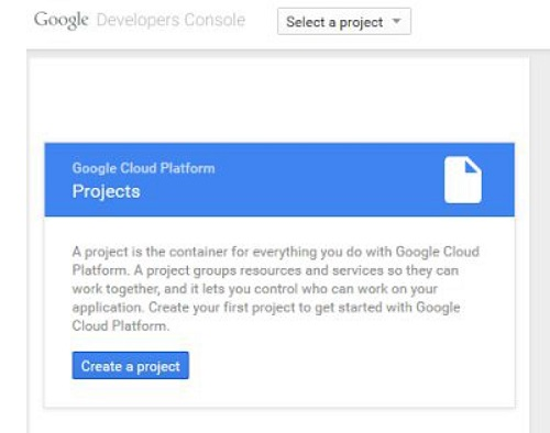 In the left panel of the Google Developers Console, you will be asked to create a project