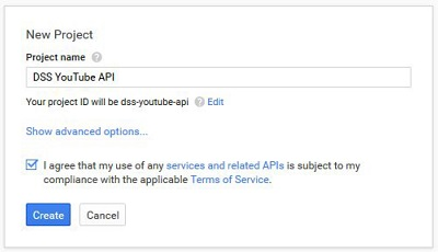 Name your new project DSS YouTube API