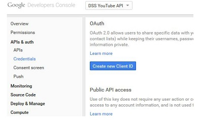"Click on ""Create a New Client ID"" to enable data sharing from DSS to YouTube"