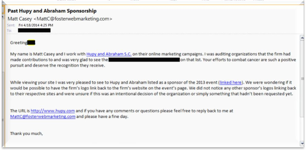 Sample Link Building Email for Charity