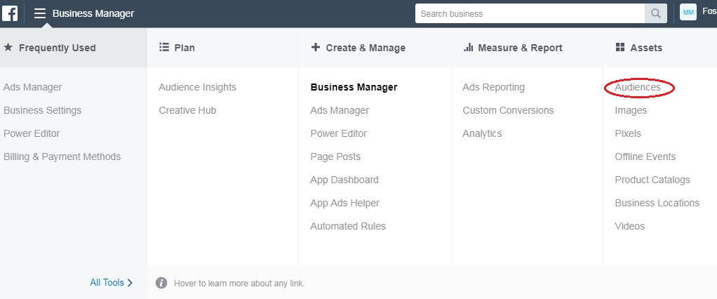 Facebook Business Manager display
