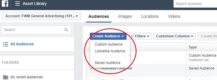 Defining a custom audience