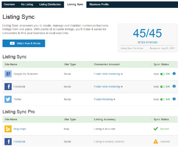 DSS Local Listing Builder Tool Listing Sync Tab Screenshot