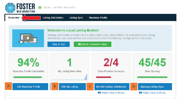 DSS Local Listing Builder Tool Overview Tab Screenshot