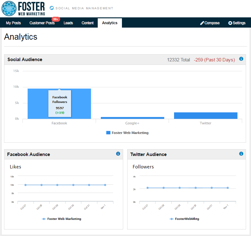 DSS Social Media Management Tool Analytics Screenshot