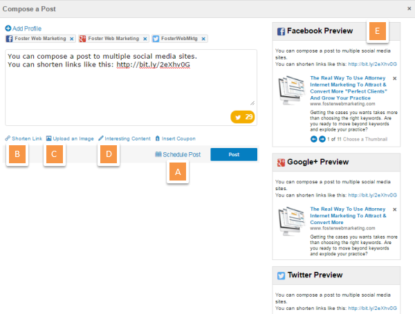 DSS Social Media Management Tool Compose Post Screenshot