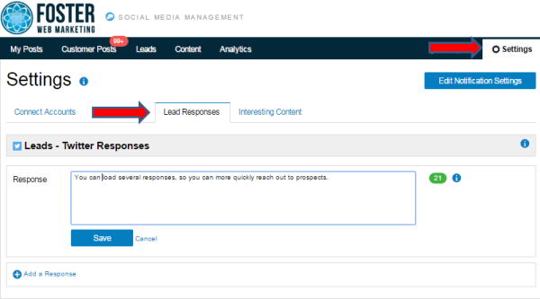 DSS Social Media Management Tool Lead Responses Screenshot