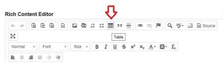 Locating the Table icon