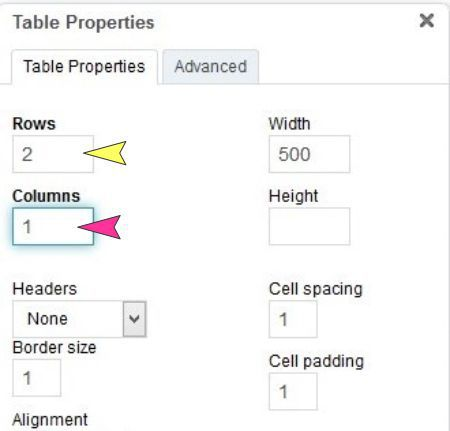 Specify the rows and columns