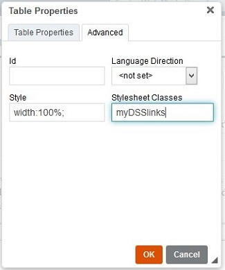 Put the code myDSSlinks in the Stylesheet Classes field