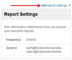 Reputation Management Edit Report Settings Screenshot
