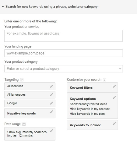 Google's Keyword Planning tool provides multiple search options