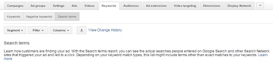 The search terms report reveals the organic searches that triggered your PPC ads