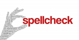 A Hand With a Grammar Theme Holding the Red Word Spellcheck