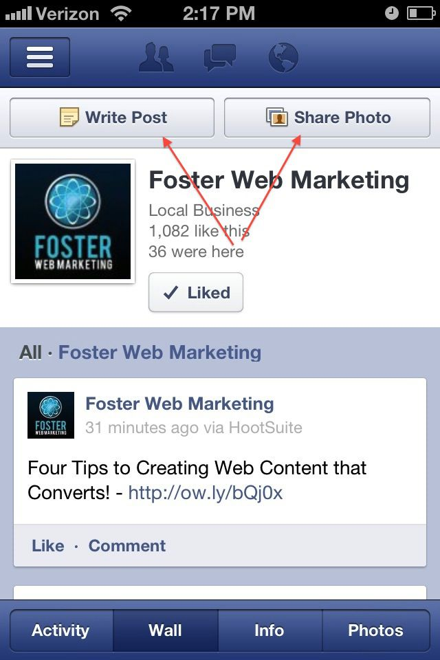 Facebook Business Page for iPhone