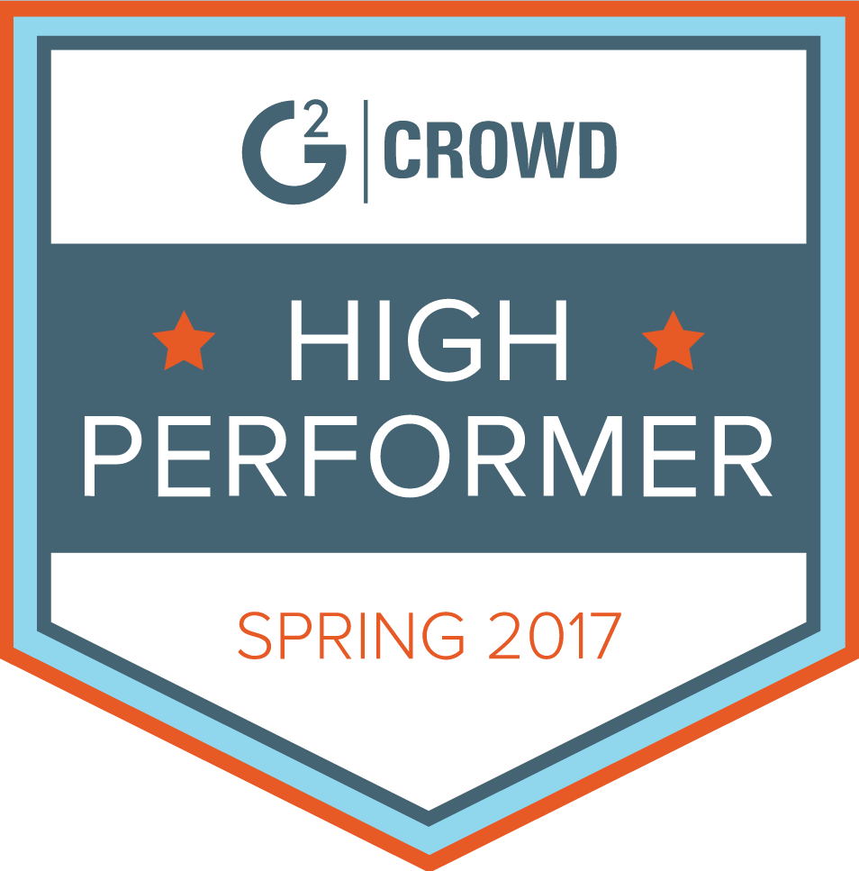 "Banner that reads ""G2 Crowd High Performer Spring 2017"""