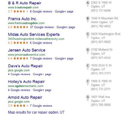 Google Business Search Example