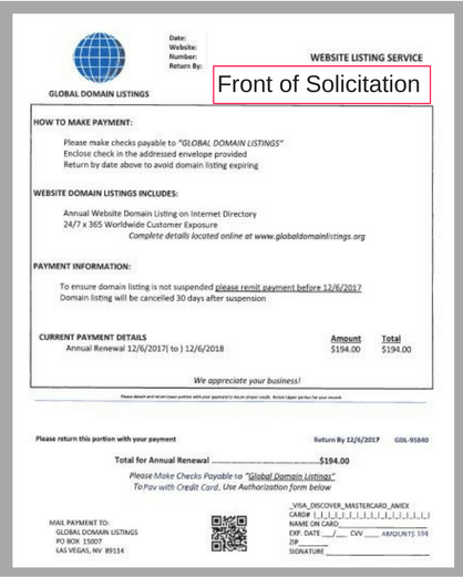 Example of invoice solicitation letter (front)