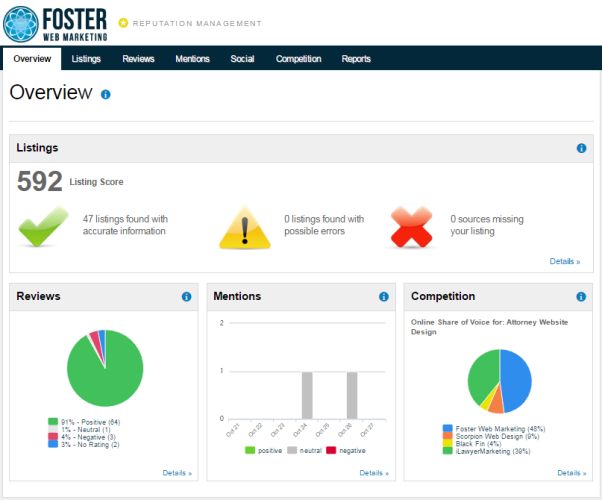 Foster Web Marketing Reputation Management Tool Snapshot Report
