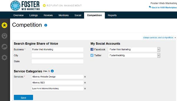 Reputation Management Service Categories Screenshot