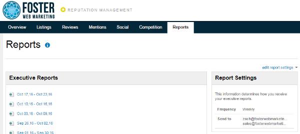 Reputation Management Reports Tab Dialog Box