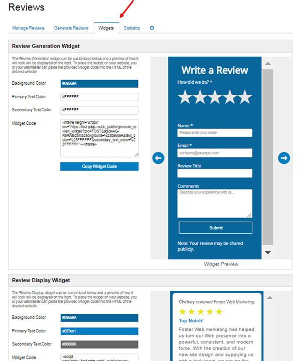 Reputation Management Review Generation Widget Screenshot