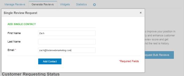 Reputation Management Single Review Request Screenshot