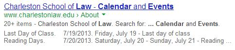 Charleston School of Law Event Search Result