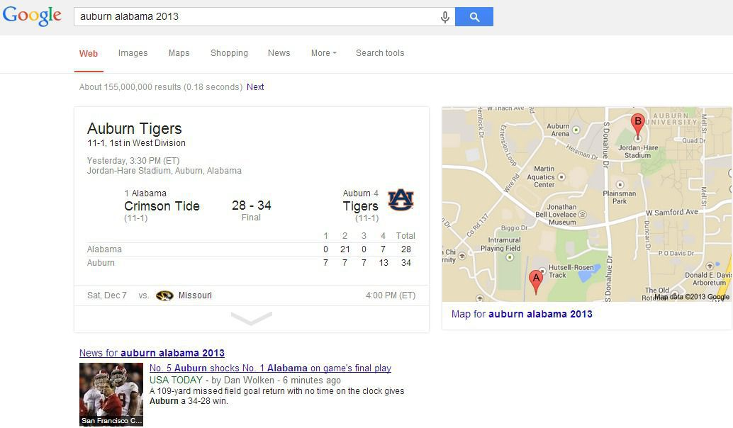 Auburn Alabama Google Search Result