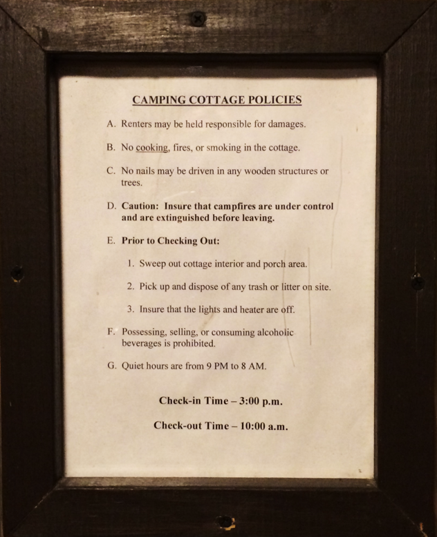 Camping Cottage Policies
