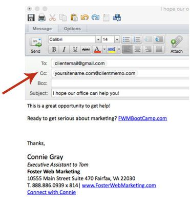 Email to CRM CC Field