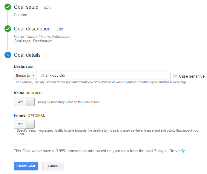 Destination URL for Conversions in Google Analytics