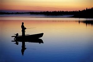Fishing in a still lake